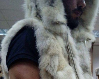 MEN'S!New HOODED Real Natural Fox Fur Vest