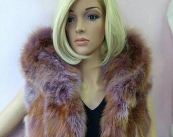 NEW!!! Natural,Real LILAC color Fox Fur Vest!!!
