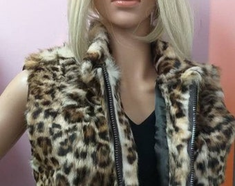 New!Natural Real Fur Vest from Full skin Rabbit in Animal Print!