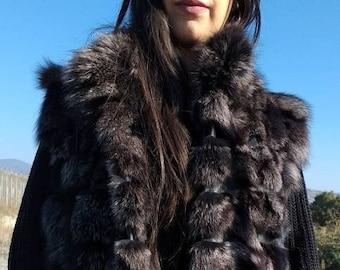 New, Real natural Dark Silver Fox Fur Vest!