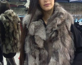 New, Real natural Silver Fox Fur Vest!!!