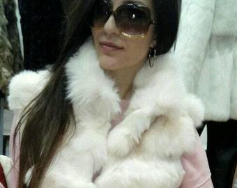 NEW! Natural,Real Cream White Fox Fur Vest!