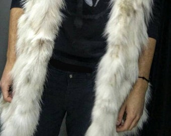 MEN'S!New HOODED Real Natural Fox Fur Vest! Order in ANY color!