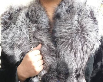 New,Natural Real Mink Fur jacket with Silver Fox collar!