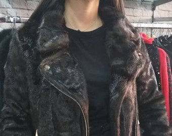 NEW in!Natural Real MINK MOTORCYCLE Fur jacket!