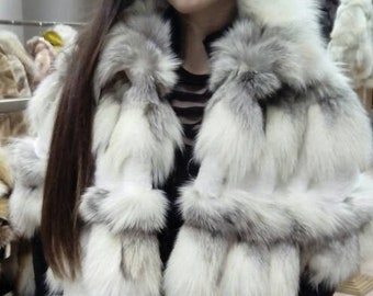 New Model!!!Natural Real Silver Kross Fox Fur vest/jacket!
