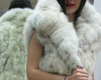 NEW! Natural,Real LONG Fluffy Fox Fur Vest!!!