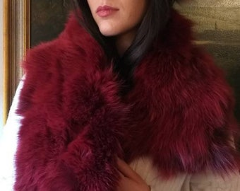 New!!!Beautiful Natural Real Amazing BORDEAUX Wine color  Fox  scarf!