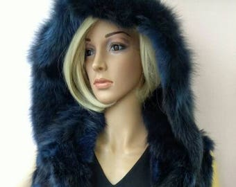 New!Natural Real BLUE Hooded Fox Fur vest