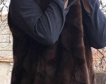 New Natural Real Mink Fur vest!Order any color
