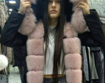 New!Modern Hooded Jacket with Fullskin Pink Fox! ORDER ANY ColoR FoX OR ColoR JackeT!