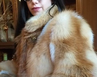 NEW!!!Natural Real Red Fox Fur jacket from High Quality Full fox pelts!