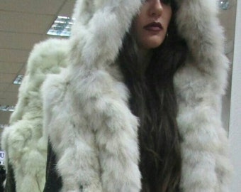 NEW! Natural,Real  Hooded Fox Fur Vest!!!