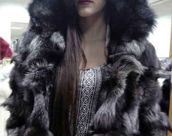 New,Natural Real SILVER Fox Fur Hooded coat!