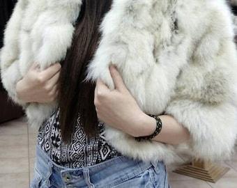SEXY!FOX BOLERO!Brand New Natural colors Genuine Fur!Part 1