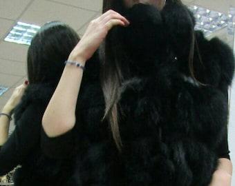 LONG BLACK FOX Hooded Vest!Brand New Real Natural Genuine Fur!