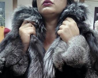 NEW!!!Natural Real Dark Silver Fox Fur!