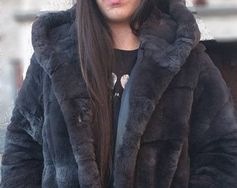 NEW in!Natural Real Beautiful Graphite color HOODED REX fur coat!