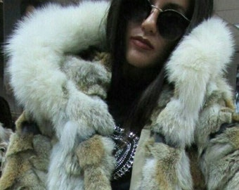 New,Natural Real Hooded Coyote Fur coat with black leather straps!