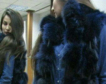 NEW! Natural,Real LONG BLue Fox  Fur Vest with leather stripes! New Model!