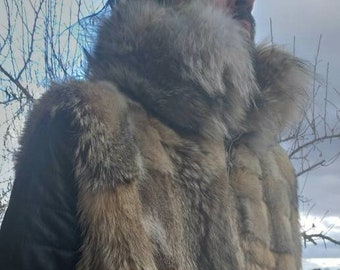 MEN'S NEW!Real Natural FOX Fur Vest with Coyote Collar!
