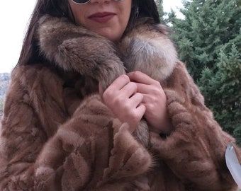 NEW!!!Natural Real Brown Mink Fur jacket with fox collar!