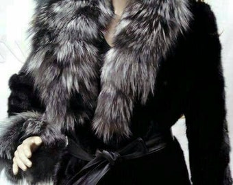 New Natural Real MINK Fur coat with SILVER FOX collar and cuffs!