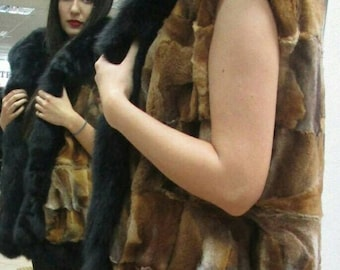 New Natural Real Crystal Fox Fur vest with Beautiful Black fox collars!