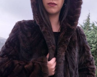 NEW!!!Natural Real Brown Mink hooded fur!