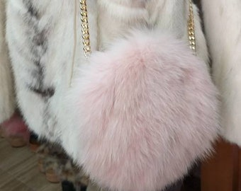New,Natural,Real FOX Fur Bag in Pink colors! Order in any color or shape!
