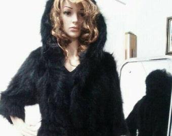 New!Natural Real Hooded black RACCOON Fur Coat!!!