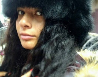 New!Natural,Real BLACK  FOX Fur HAT!