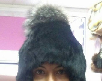 New!Modern One size Real fur Rabbit Black cap with silver Fox pompon on the top!