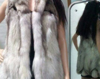 NEW,Natural,Real Blue Fox Fur Long Vest!