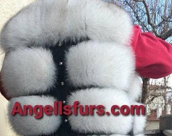 New model!Real Natural color Blue FOX fullpelts Fur Vest! Order ANY color!