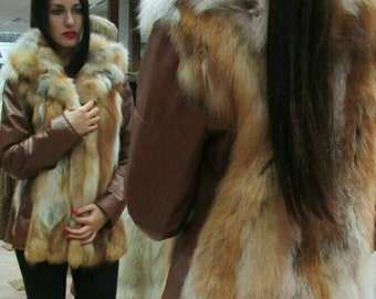 New,Natural Real Red fox jacket with leather!