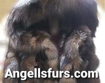 MEN'S New!Real Natural Hooded  CRYSTAL FOX Fur Coat!