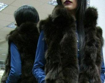 New! Natural Real Brown Fox fur Vest!