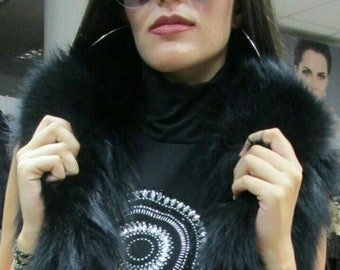 BASIC Black!New Natural Real  Black Fox Fur vest!