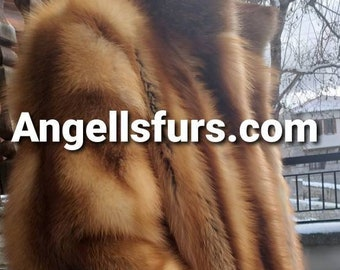 New MEN'S Real Natural High quality Fur coat from Full pelts natural Color RED FOX!!!