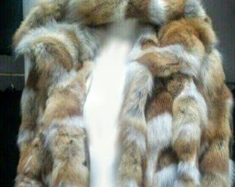 MEN'S New Real Natural Long Hooded Red Fox Fur COAT!