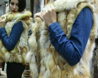 New!Natural Real Hooded Red Fox Fur bolero-short vest!