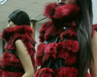 NEW Natural Real Long RED colored FOX Fur Vest with leather!