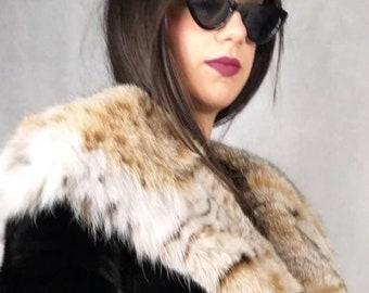 New!Natural Real Superior Quality FULLSKINS BLACK MINK Fur Coat!