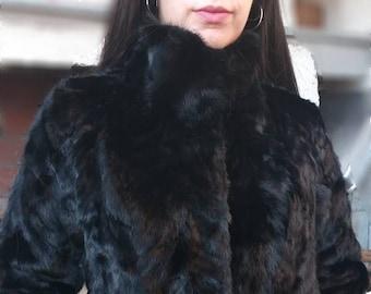 NEW Real Natural BLACK MINK Fur jacket!