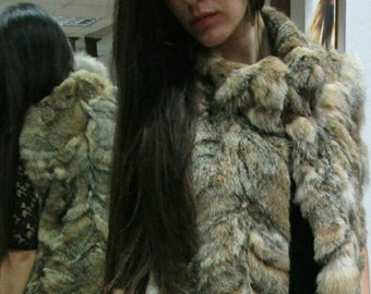 New!Natural Real Fur Vest from Rabbit in Animal Print!