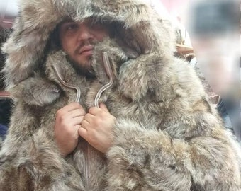 3e6ce267ae9 Real Natural Hooded COYOTE Fur Coat with Detachable Hood!
