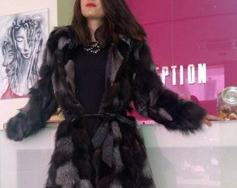 New!Natural Real SILVER fox Hooded Fur Coat
