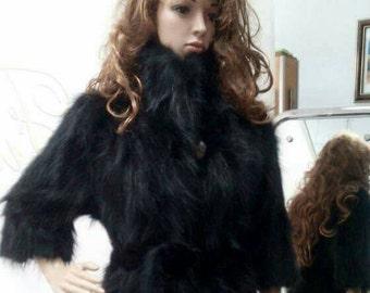 New!Natural Real Black RACCOON Fur Coat!!!