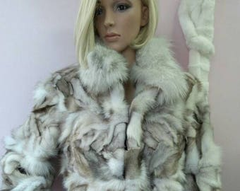 New,Real Natural color Blue  Fox Fur coat!